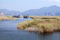 Boats on Dlayan river, Dalyan, Mugla Stock Image