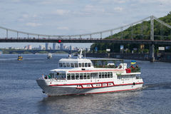 Boats on the Dnepr river in Kiev Stock Images
