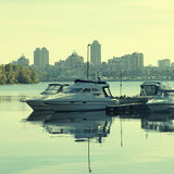 Boats on the Dnieper River in Kiev, Ukraine. Royalty Free Stock Photos