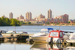Boats on the Dnieper River Stock Photography