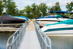 Boats on a dock stock photo