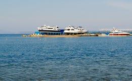 Boats at Dock. Amur Bay Stock Photo