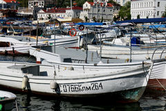 Boats at dock in Balaklava. Bay, the Crimea royalty free stock images