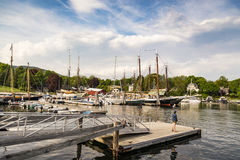 Boats at dock in Camden, ME Royalty Free Stock Photo
