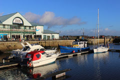 Boats in dock at Fleetwood by Freeport, Lancashire Stock Image