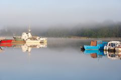 Boats in dock in foggy morning Stock Images