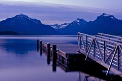 Boats Dock Lake McDonald Stock Photography