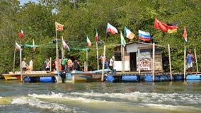 Boats dock at Madu River Stock Image