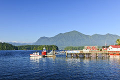 Boats at dock in Tofino, Vancouver Island, Canada Stock Photo