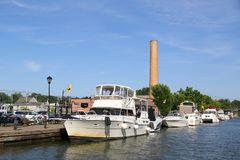 Boats docked along Erie Canal in Fairport, Upstate New York Stock Photography