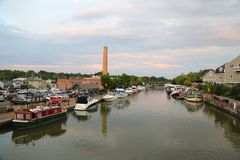 Boats docked along Erie Canal in Fairport, Upstate New York Royalty Free Stock Photo