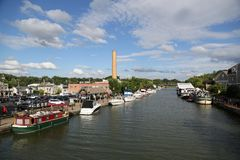 Boats docked along Erie Canal in Fairport, Upstate New York Stock Photo