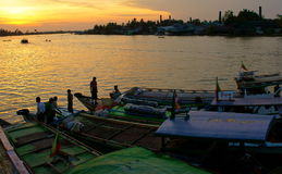 Boats docked Along the Irrawaddy Stock Images
