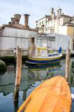 Boats docked on the canals of Chioggia Royalty Free Stock Images