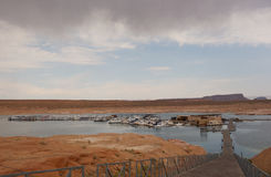 Boats docked at the floating antelope point marina in arizona Royalty Free Stock Photography