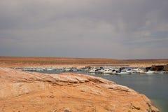 Boats docked at the floating antelope point marina in arizona Royalty Free Stock Image