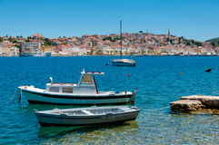 Boats docked in front of Mali Losinj Stock Images