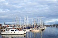 Boats docked at harbor royalty free stock image