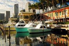 Bayside Harbor, Miami. Boats are docked at the Harbor in the Bayside Marina, Miami, Florida royalty free stock photos