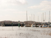 Boats Docked in the harbour of wivenhoe stock photo