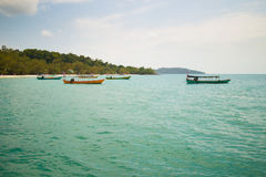 Boats Docked at an Island in Asia Royalty Free Stock Photo
