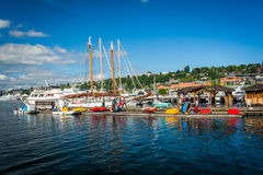 Boats docked at Lake Union, in Seattle, Washington. Stock Images