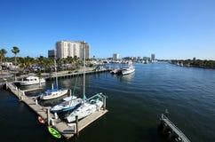 Boats docked at a local marina along Fort Lauderdale Beach, Florida, USA. stock images