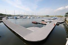 Boats docked at marina Royalty Free Stock Images