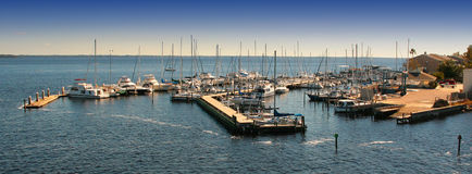Boats Docked in Marina Stock Image