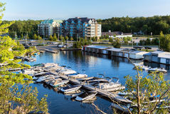 Boats Docked at a Marina - High Angle Stock Photo