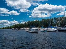 Boats docked at a marina Stock Photography