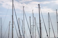 Boats docked in the marina. Top view of the boats docked in the marina of olhao city, Portugal stock image