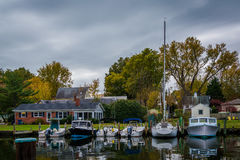 Boats docked in the Miles River, in St. Michaels, Maryland. Royalty Free Stock Images