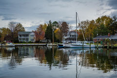 Boats docked in the Miles River, in St. Michaels, Maryland. Royalty Free Stock Photography