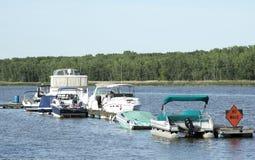 Boats docked  near shore Royalty Free Stock Photography