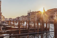 Pier on the Grand Canal of Venice, Italy at Sunset stock images