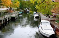 Boats docked in a river Stock Image
