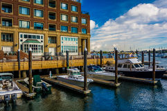 Boats docked at Rowes Wharf in Boston, Massachusetts. Royalty Free Stock Photo
