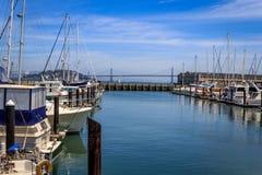 Boats docked at a marina in San Francisco stock photos