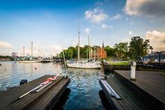 Boats docked at Skeppsholmen, in Norrmalm, Stockholm, Sweden. Stock Photography