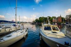 Boats docked at Skeppsholmen, in Norrmalm, Stockholm, Sweden. Stock Image