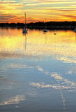 Boats docked at sunset hdr Stock Photography