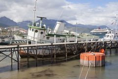 Boats docked in Ushuaia city Stock Image