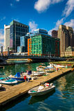 Boats and docks in Fort Point Channel, Boston, Massachusetts. Stock Images