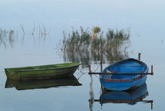 Boats on Dojran lake Stock Images