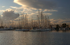 Boats on dok in sunset. Atens, greece Royalty Free Stock Photography