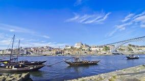 Boats on Douro river, City of Porto, Portugal stock video