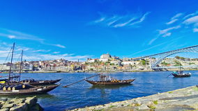 Boats on Douro river, City of Porto, Portugal stock footage