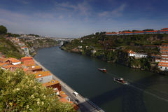 Boats on Douro river in Porto, Portugal Royalty Free Stock Photos