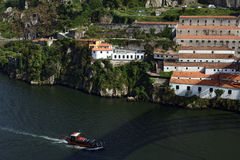 Boats on Douro river in Porto, Portugal Royalty Free Stock Image